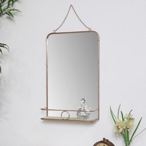 Brass Metal Vanity Wall Mirror with Shelf