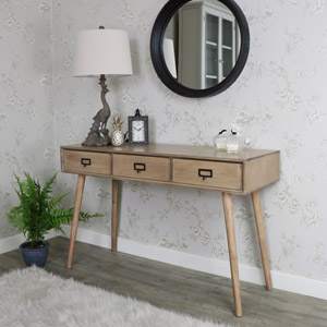 Brown Wooden Retro Style 3 Drawer Console Table - Brixham Range