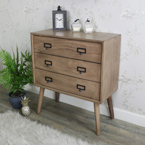 Retro Style Brown Wooden 3 Drawer Chest of Drawers - Brixham Range DAMAGED SECOND 3008