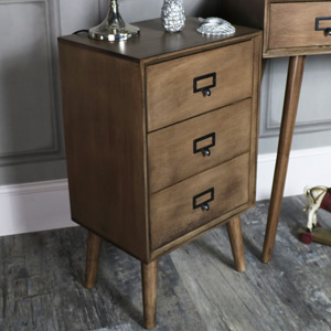 Brown Wooden Retro Style 3 Drawer Bedside Chest - Brixham Range