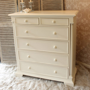 Canterbury Range - Cream 2 over 4 Drawer Chest