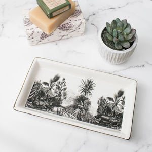Ceramic Monochrome Jungle Trinket Tray