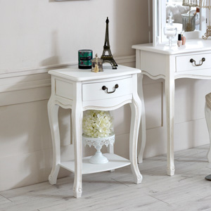 Classic White Range - 1 drawer Bedside Table with Shelf