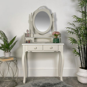 Claudette Range - Grey Dressing Table and Swing Mirror