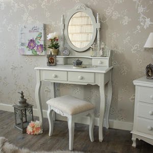 Grey Dressing Table, Mirror and Stool - Claudette Range