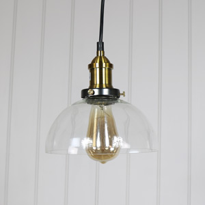 Clear Glass Dome Industrial Pendant Ceiling Light