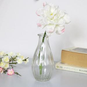 Clear Ribbed Glass Bottle Vase