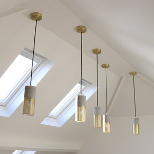 Concrete and Gold Mesh Ceiling Pendant