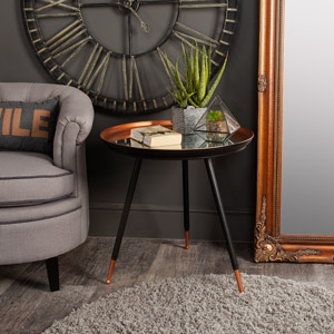 Copper & Black Mirrored Side Table