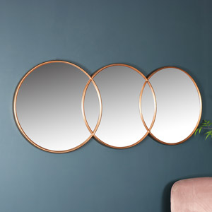 Copper Circle Wall Mirror 150cm x 60cm