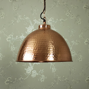 Copper Hammered Dome Pendant ceiling light