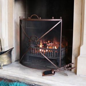 Copper Metal Ornate Fire Screen