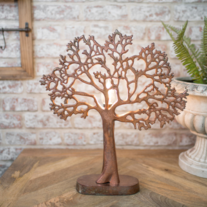 Copper Metal Tree of Life Lamp