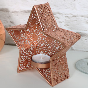 Copper Star Shaped Tealight Candle Holder