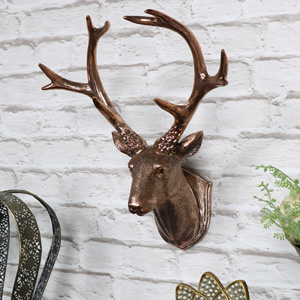 Copper Wall Mounted Stag Head Decoration