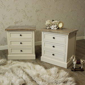 Cream Bedside Table or Chest of Drawers (set of 2) - Cotswold Range