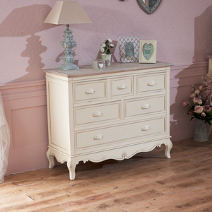 Large 6 Drawer Cream Chest of Drawers- Country Ash Range