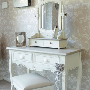 Country Ash Range - Cream Dressing Table, Swing Mirror and Stool Set