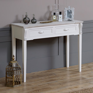 Cream 2 Drawer Console/Dressing Table - Lyon Range