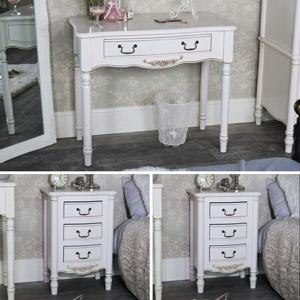 Cream Bedroom Furniture, Dressing Table & Pair of Bedside Tables - Adelise Range