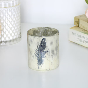 Cream & Black Feather Tealight Holder