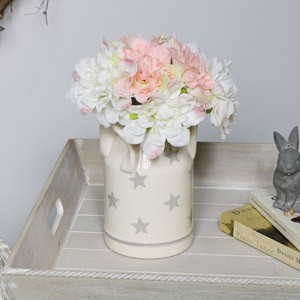 Cream Ceramic Milk Churn Vase