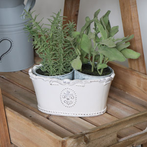 Cream Ceramic Oval Trough Planter