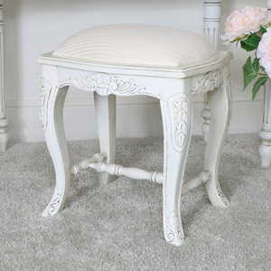 Cream Cushioned Dressing Table Stool - Limoges Range