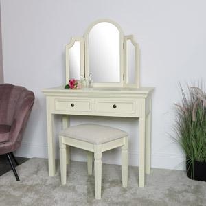 Cream Dressing Table, Mirror & Stool Set - Daventry Cream Range SECONDS ITEM