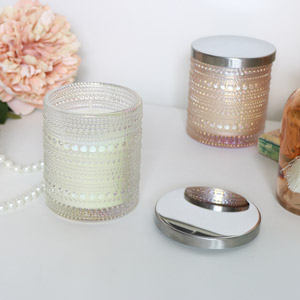 Cream Glass Candle Pot - Vanilla & Tweed