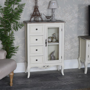 Cream Glazed Cabinet with Storage - Georgette Range