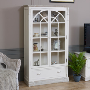 Cream Glazed Display Cabinet - Lyon Range DAMAGED SECONDS ITEM 3035
