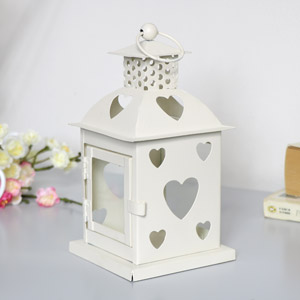 Cream Heart Tealight Candle Lantern
