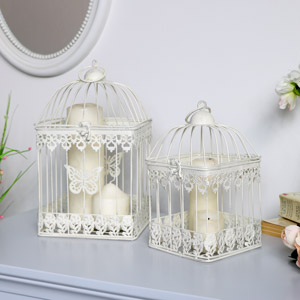 Cream Metal Birdcage Lanterns