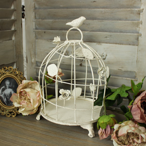 Cream Metal Decorative Bird Cage Candle Holder/Cake Stand