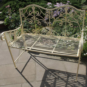Cream Shabby Chic Garden Bench