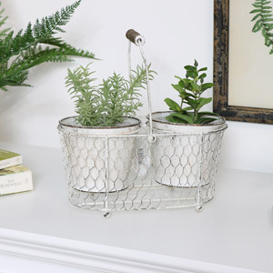 Cream Metal Garden Planter