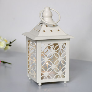 Cream Metal Tealight Lantern - Battery Operated