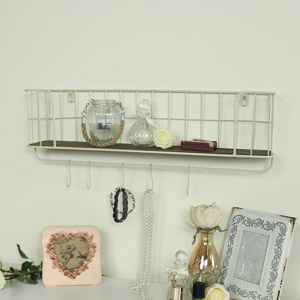 Cream Metal Wall Shelf with Hooks