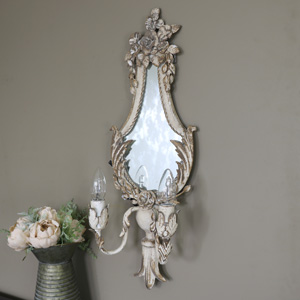 Cream Ornate Mirror with Double Wall Light Sconce