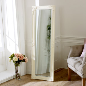 Cream Ornate Tall Slim Mirror 47cm x 142cm