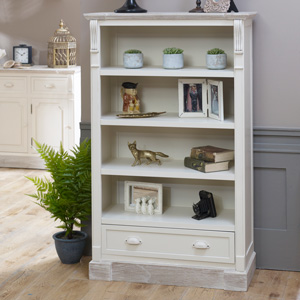 Cream Rustic Tall Bookcase with Drawer Storage - Lyon Range