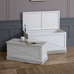 Cream Set of 2 Storage Blanket Boxes - Lyon Range