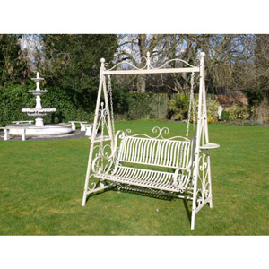 Cream Swing Garden Bench