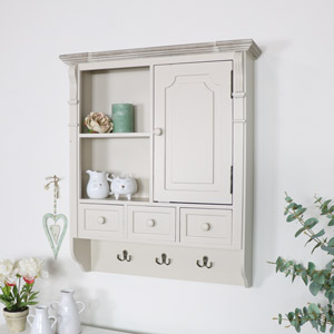 Cream Wall Mounted Cupboard with hooks - Lyon Range