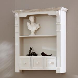 Cream Wall Shelf Unit with Drawers - Lyon Range