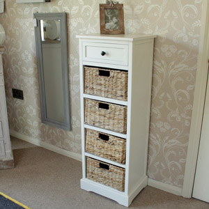 Château Range - Ivory Wicker Storage Unit - One Drawer/Four Baskets