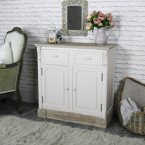 Cream Wood 2 Drawer, 2 Door Sideboard Storage Cupboard - Lyon Range