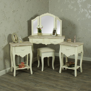 Cream Wood Dressing Table, Mirror, Stool Set with 2 Bedside Tables - Belfort Range