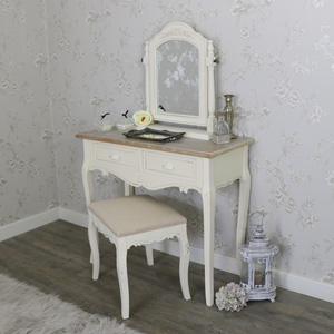 Cream Wood Dressing Table, Swing Mirror and Stool Bedroom Furniture Set - Country Ash Range